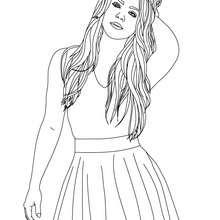 Dibujo de Shakira con la mano en el cabello para colorear - Dibujos para Colorear y Pintar - Dibujos para colorear FAMOSOS - SHAKIRA para colorear