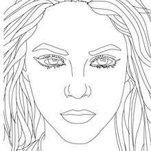 Retrato de Shakira para colorear - Dibujos para Colorear y Pintar - Dibujos para colorear FAMOSOS - SHAKIRA para colorear