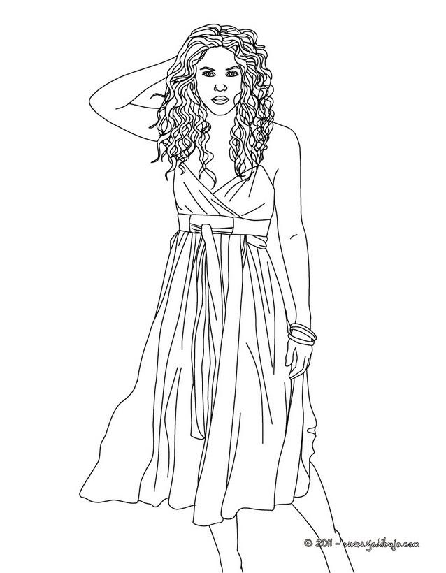 Dibujo para colorear : Shakira con una falda
