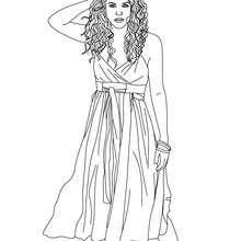 Dibujo de Shakira con una falda para colorear - Dibujos para Colorear y Pintar - Dibujos para colorear FAMOSOS - SHAKIRA para colorear