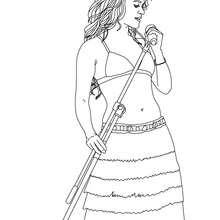 Dibujo para colorear : Shakira cantando