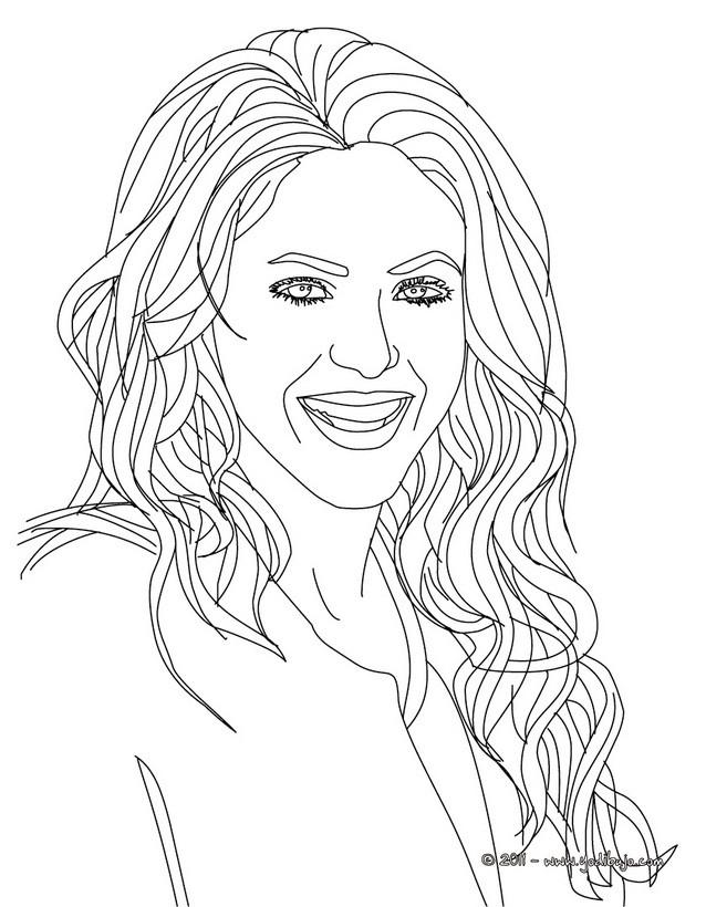 Dibujo para colorear : Shakira pelo suelto