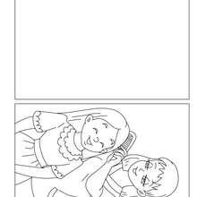 Tarjeta del dia de la madre para colorear hija con su mama - Dibujos para Colorear y Pintar - Dibujos para colorear FIESTAS - Tarjetas para colorear DIA DE LA MADRE