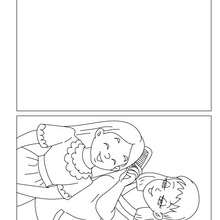 Dibujo para colorear : Tarjeta del dia de la madre  hija con su mama