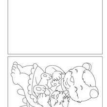Dibujo para colorear : Tarjeta para coloreasr Mama oso con su bebe