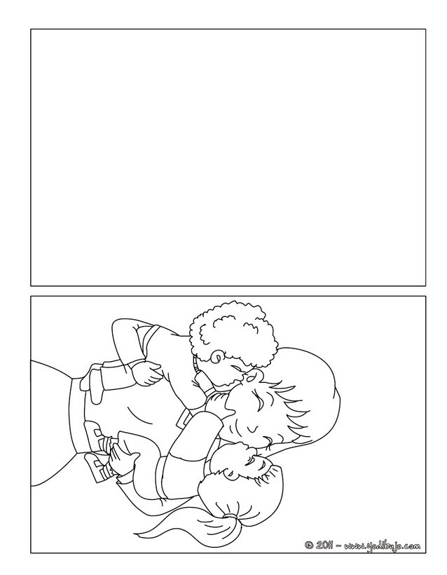 Dibujo para colorear : Tarjeta  mama con sus hijos