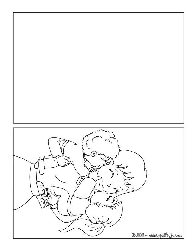 Dibujos Para Colorear Tarjeta Mama Con Sus Hijos Eshellokidscom