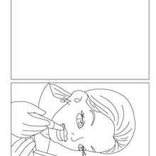Dibujo para colorear : Tarjeta  mama pintandose los labios