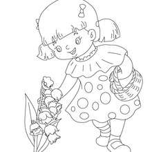 Dibujo de una niña colectando muguete para el dia de los trabjadores para colorear - Dibujos para Colorear y Pintar - Dibujos para colorear FIESTAS - Dibujos para colorear el DIA DE LOS TRABAJADORES