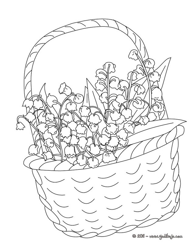 Dibujo para colorear : una canasta de muguete para el dia de los trabajadores