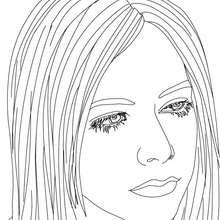 Retrato de Avril Lavigne para colorear - Dibujos para Colorear y Pintar - Dibujos para colorear FAMOSOS - AVRIL LAVIGNE para colorear