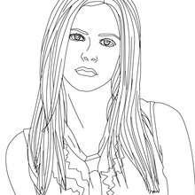 Dibujo para colorear : Avril Lavigne pelo suelto