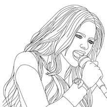 Dibujo para colorear : Avril Lavigne cantando