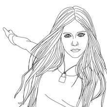 Dibujo de Avril Lavigne bailando para colorear - Dibujos para Colorear y Pintar - Dibujos para colorear FAMOSOS - AVRIL LAVIGNE para colorear