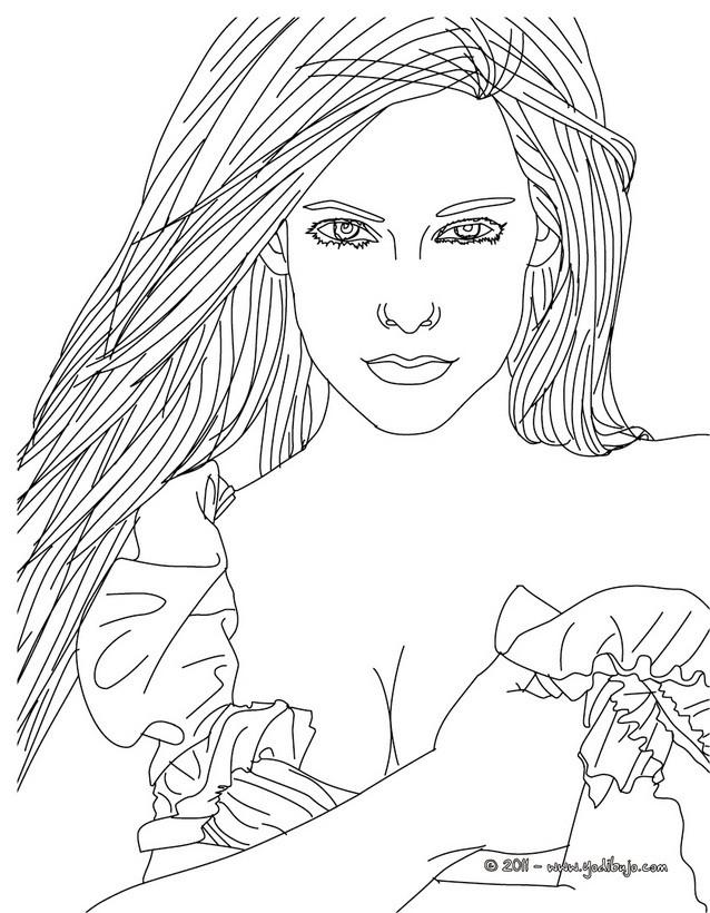 Dibujo para colorear : Avril Lavigne hermosa