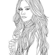 Dibujo para colorear : Avril Lavigne de perfil