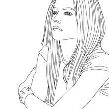 Dibujo para colorear : Avril Lavigne con su melena