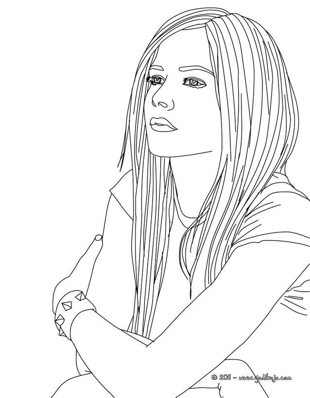 Dibujos para colorear avril lavigne con su melena - es.hellokids.com