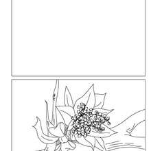Dibujo para colorear : Tarjeta  un ramo de muguete