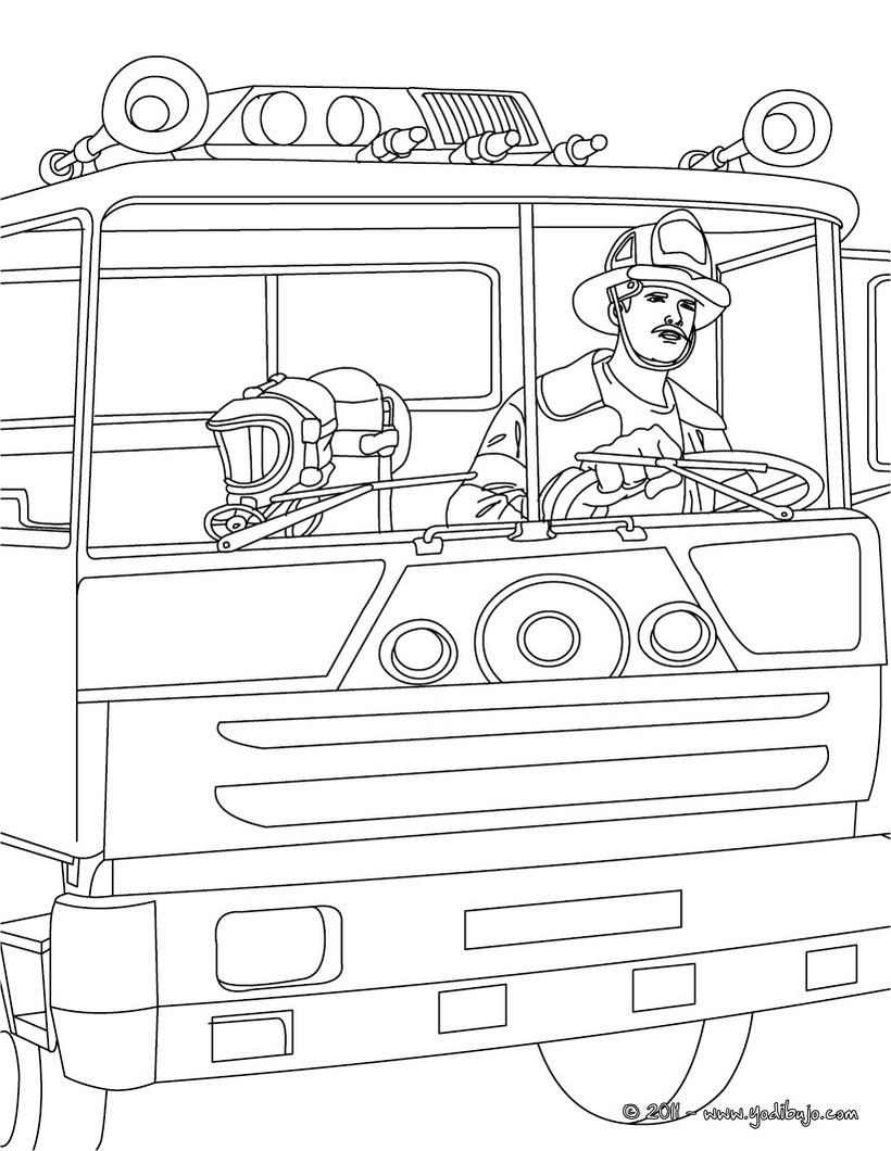 Dibujos para colorear un camión de bomberos - es.hellokids.com