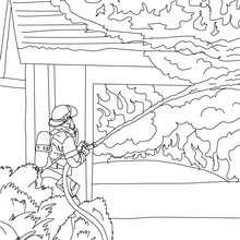 Dibujo para colorear un bombero con su manguera - Dibujos para Colorear y Pintar - Dibujos para colorear PROFESIONES Y OFICIOS - Dibujos de BOMBEROS para colorear