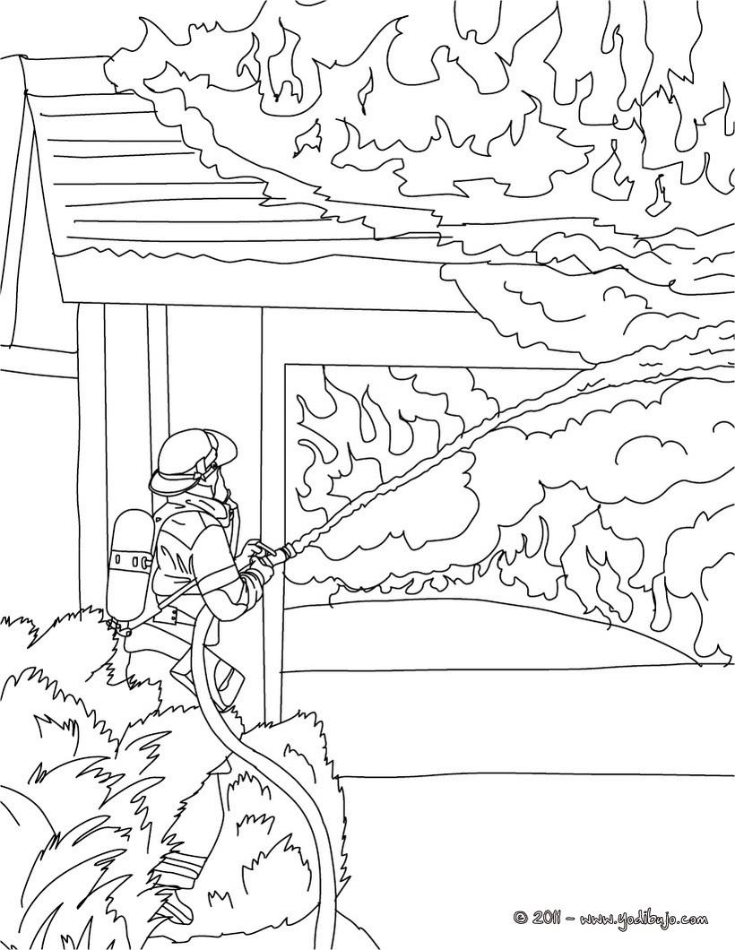 Dibujos para colorear un bombero con su manguera - es.hellokids.com