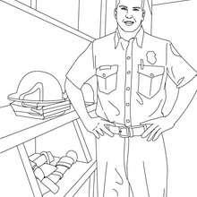 Dibujo de un bombero en el cuartel de los bomberos para pintar - Dibujos para Colorear y Pintar - Dibujos para colorear PROFESIONES Y OFICIOS - Dibujos de BOMBEROS para colorear