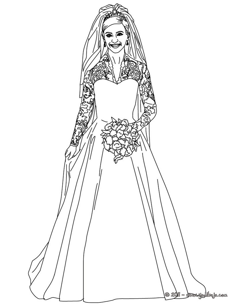 Dibujos Para Colorear Vestido De Novia De La Princesa Kate