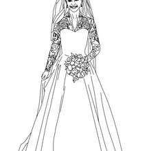 Dibujo del vestido de novia de la princesa KATE MIDDLETON para colorear - Dibujos para Colorear y Pintar - Dibujos de PRINCESAS para colorear - Dibujos de la princesa KATE y WILLIAM para pintar