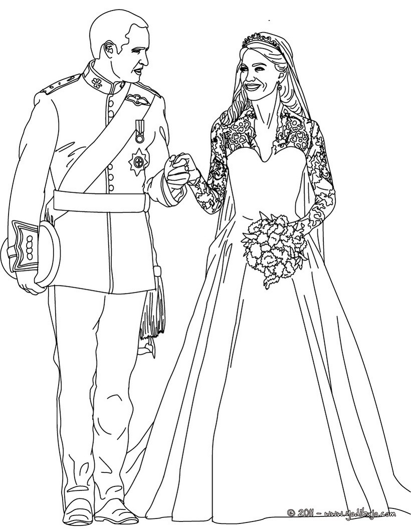 dibujos para colorear los prncipes y novios kate y william eshellokidscom