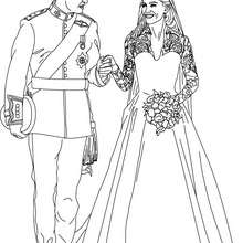 Dibujo para colorear : los príncipes y novios Kate y William