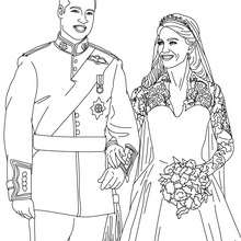 Dibujo para colorear : la pareja real de príncipes Kate y William