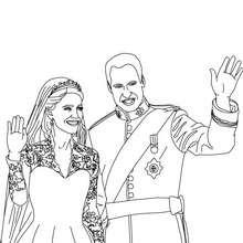 Dibujo par colorear a Kate Y William el día de su  boda - Dibujos para Colorear y Pintar - Dibujos de PRINCESAS para colorear - Dibujos de la princesa KATE y WILLIAM para pintar