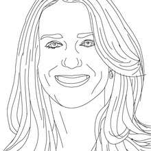 Retrato de la princesa Kate Middleton para colorear - Dibujos para Colorear y Pintar - Dibujos de PRINCESAS para colorear - Dibujos de la princesa KATE y WILLIAM para pintar