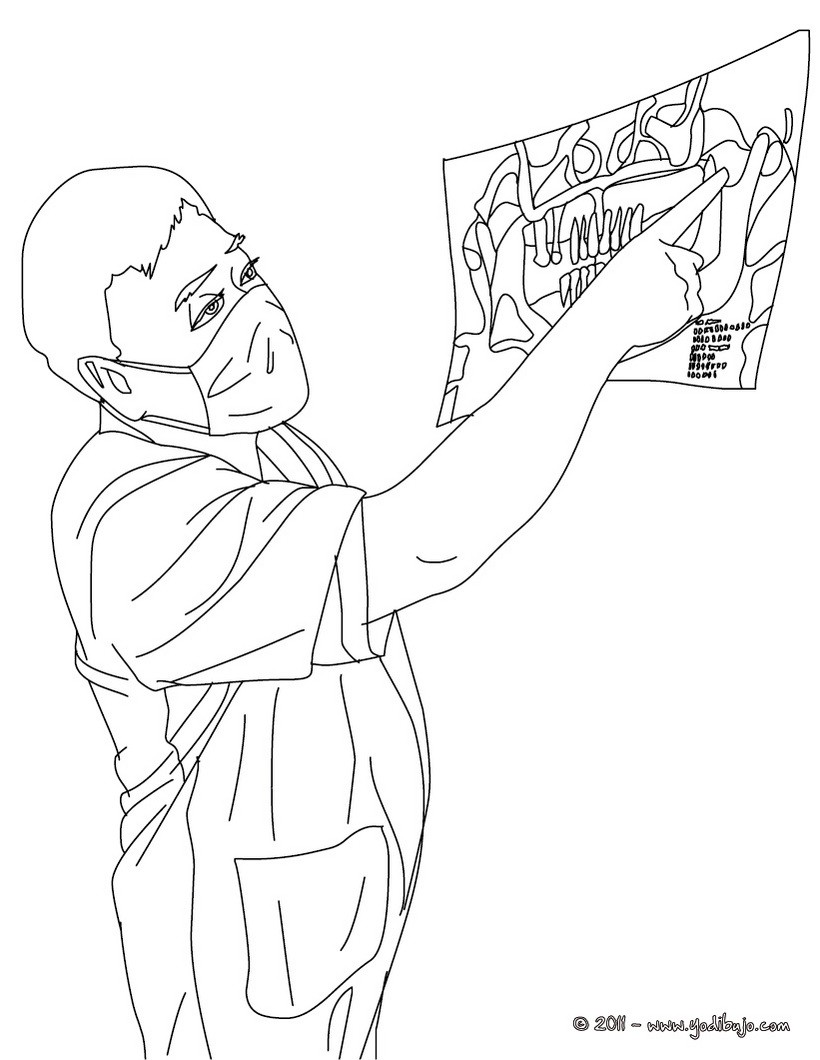 Dibujos para colorear el dentista viendo una radiografia - es ...