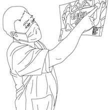 Dibujo para colorear el dentista viendo una radiografia - Dibujos para Colorear y Pintar - Dibujos para colorear PROFESIONES Y OFICIOS - Dibujos de DENTISTA para pintar