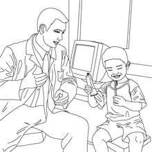 Dibujo para colorear el dentista con un niño y un cepillo de dientes - Dibujos para Colorear y Pintar - Dibujos para colorear PROFESIONES Y OFICIOS - Dibujos de DENTISTA para pintar