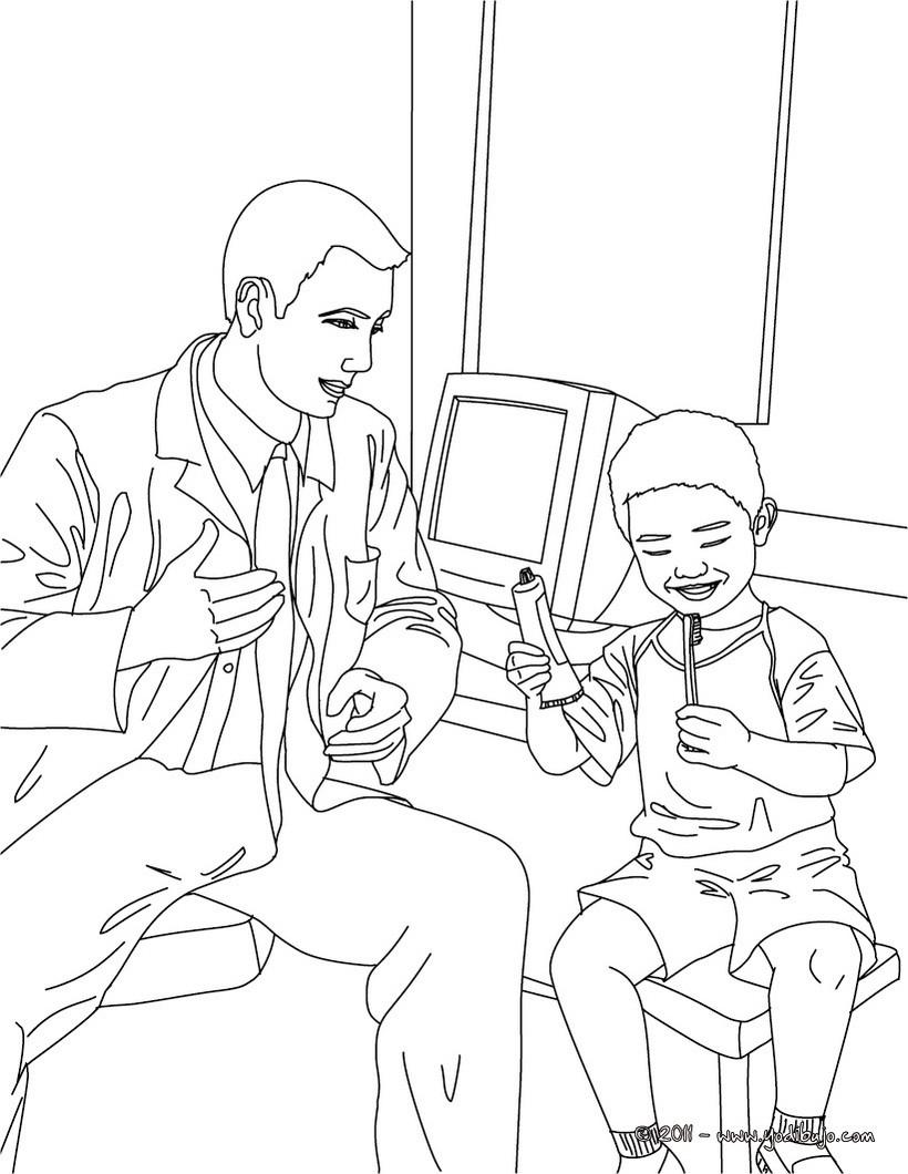 Dibujos para colorear el dentista con un nio y un cepillo de