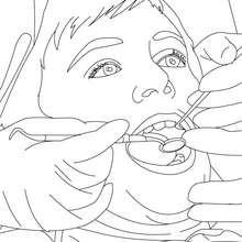 Dibujo para colorear dientes de un niño al dentista - Dibujos para Colorear y Pintar - Dibujos para colorear PROFESIONES Y OFICIOS - Dibujos de DENTISTA para pintar