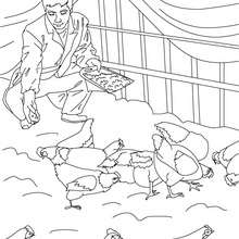Dibujo para colorear : agricultor con sus gallinas