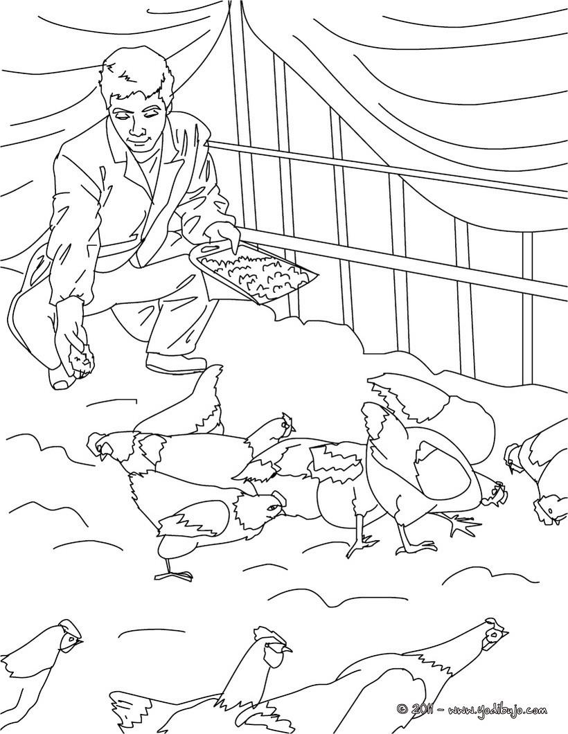Dibujos para colorear un agricultor en una granja - es.hellokids.com