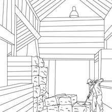 Dibujo para colorear : un agricultor en una granja