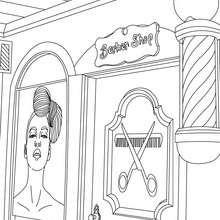 Dibujo para colorear la peluquerría - Dibujos para Colorear y Pintar - Dibujos para colorear PROFESIONES Y OFICIOS - Dibujos de PELUQUERA para colorear