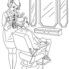 Dibujo de la peluquera cortando una melena - Dibujos para Colorear y Pintar - Dibujos para colorear PROFESIONES Y OFICIOS - Dibujos de PELUQUERA para colorear