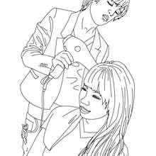 Dibujo del peluquero secando el pelo de una cliente para colorear - Dibujos para Colorear y Pintar - Dibujos para colorear PROFESIONES Y OFICIOS - Dibujos de PELUQUERA para colorear