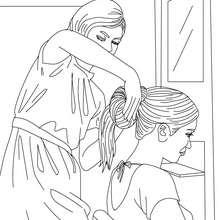 Dibujo para colorear : una peluquera haciendo un moño