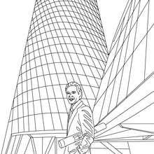 Dibujo de un arquitecto delante de une difico acabado para colorear - Dibujos para Colorear y Pintar - Dibujos para colorear PROFESIONES Y OFICIOS - Dibujos de ARQUITECTO para colorear