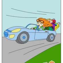 Ilustración : Dibujo infantil de Mama en su coche cabriolé