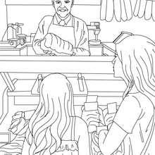 Dibujo del carnicero vendiendo carne en su carnicería para colorear - Dibujos para Colorear y Pintar - Dibujos para colorear PROFESIONES Y OFICIOS - Dibujos de CARNICERO para colorear