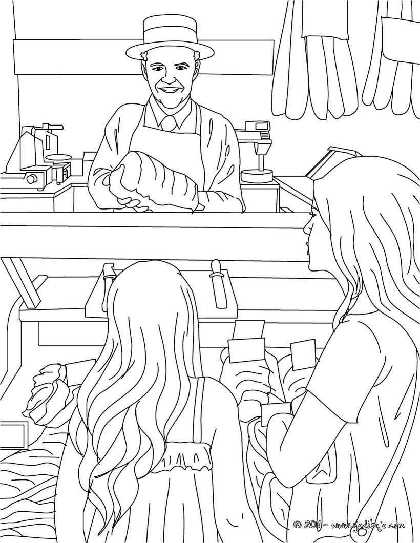Dibujo para colorear : carnicero vendiendo carne en su carnicería